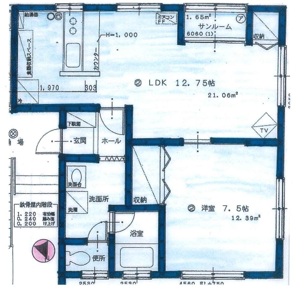 ビューティタウン102号室 平面図